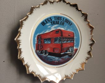 Vintage Decorative Wall Plate God Bless This Lousy Trailer Victoria Ceramics
