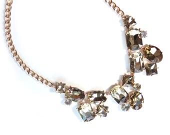 Champange Rhinestone Gold Statement Necklace