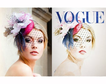 Custom Vogue Cover Watercolor Portrait from Photograph. Single Face. Choose Size.