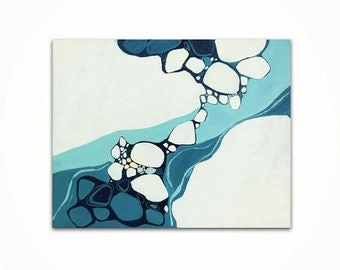 RETRO MODERN ABSTRACT Painting - Teal, Aqua, Navy Painting on Canvas, Minimalist Art