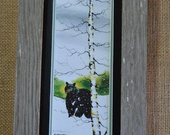 Black Bear in the Forest Water Color Painting (Framed) 4x8