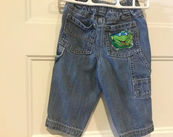 Little boy's Vintage jeans with Ninja Turtles peek a boo inserts