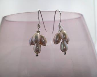 Silver Freshwater Pearl Cluster Drop Earrings Sterling Silver  UK made