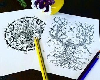 Crescent Moons Adult Coloring Page Set Original Art Fantasy Pagan Woodland