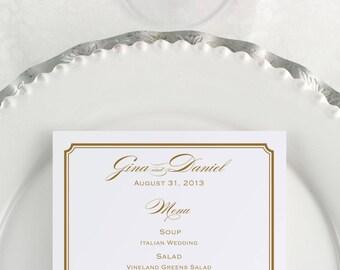Gold Wedding Menu, Formal Dinner, Wedding Menus, Menu Printable, Formal Menu, Wedding Reception, Black Tie, Sit Down Dinner