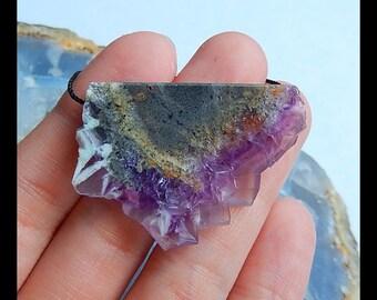 Nugget Drusy Geode Purple Fluorite Pendant Bend,37x27x5mm,11.5g(b0646)