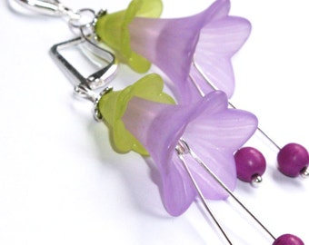 Morning Glory Earrings - Purple Violet Lilac
