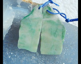 Nugget China Jade Earring Beads,36x13x3mm,8.7g