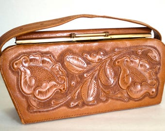 Tooled Leather Purse, Mexican Leather Purse, Tooled Leather Bag