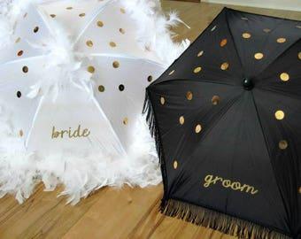 Wedding Second Line Umbrellas- Bride Groom- Mr. and Mrs. New Orleans Made- sequins- set of 2 umbrellas- MEDIUM parasol size- Gris Gris Art