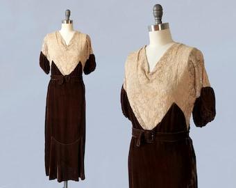 1930s Dress / 30s Silk Velvet and Lace Dress / Art Deco