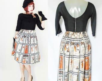 50s Low Back Dress, Boat Neck Dress, Audrey Hepburn Style Full Skirt Dress, 50s Silk Dress with Big Skirt, Wedding Guest Dress, Mid Length