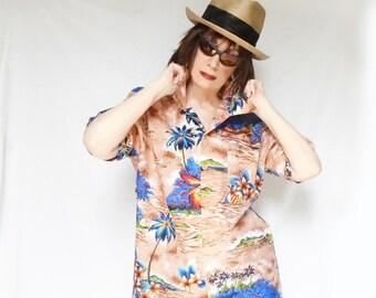 Mens Tropical Shirt, Palm Print Shirt, Retro Hawaiian Shirt, Vintage Hawaiian Shirt, Mens Disco Aloha Shirt, Womens Plus Size Hawaiian Shirt