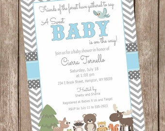 Blue and Gray Woodland Forest Baby Shower Invitation, forest and friends baby shower invitations, chevron, printable invitation