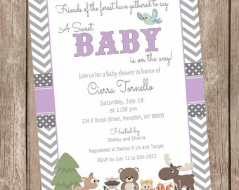 Purple and Gray Woodland Forest Baby Shower Invitation, forest and friends baby shower invitations, chevron, printable invitation