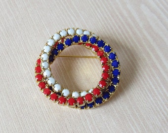 Patriotic Rhinestone Circle Pin Vintage Patriotic Brooch Red White Blue July 4th