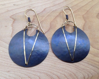 Vintage Holly Yashi Purple Disc Hypoallergenic Niobium Dangle Earrings