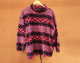 90s SLOUCHY ikat style SOUTHWEST oversize large FLEECE sweatshirt jacket