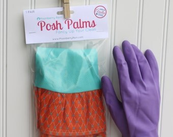 Ready To Turquoise Stars on Orange Size LARGE Fabric Cuff- Fancy Ruffled Rubber Gloves - Cleaning Gloves - Dishwashing Gloves
