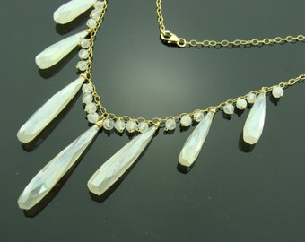 White Chalcedony and Raibow Moonstone 14K Gold Filled Necklace