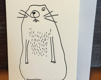 Set of 6 folded notecards of a super cute groundhog. Blank inside- can be used for any occasion- birthdays, get well or just because.