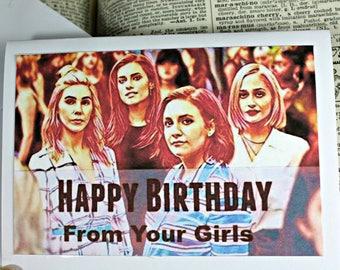 HBO Girls Caricature Birthday Card Handmade Card Greeting Card Girls Birthday Urban Gypsy Paper Card Note Card