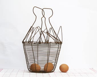 Antique French wire fruits basket, Wire egg basket , french country kitchen , shabby chic farm basket