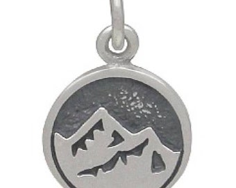 Charm Earth And Mountain Symbol Sterling Silver 16.5x10.3mm - 1pc Wholesale Price (11355)/1