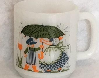 Vintage Glasbake Frienship Mug / Orange Green White Blue / Flowers / Umbrella Rain / Gift  Present