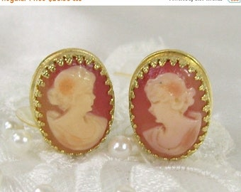 Spring Special Sale Vintage Whiting & Davis Cameo Earrings Genuine Carved Shell Clip On Gold Tone