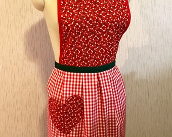 Up-cycled Christmas Apron - Red Gingham Hearts and Flowers - 50's Style