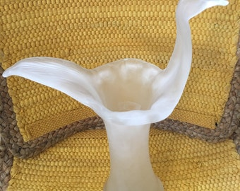 Vintage Hand Blown Satin Glass Swan Vase