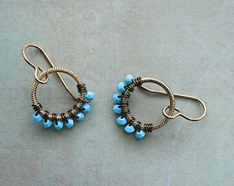 Blue Swarovski Wrapped Circles / Dangle Earrings / DaydreamJewels