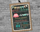gender reveal invitation ruffles or racecars lace cowboy burlap bunting chalkboard gender neutral baby shower 1473 shabby chic invitations