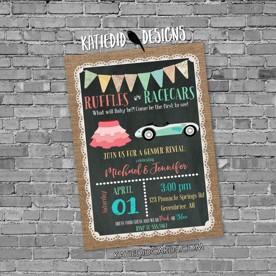 surprise gender reveal diaper and wipe brunch ruffles or racecars rustic chic burlap invitation bunting banner invite 1473 Katiedid Designs