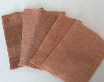 OLD PEACH- 8x6 - Hand Dyed felted wool fabric bundle for wool  Applique, Penny Rugs, Quilting  #909