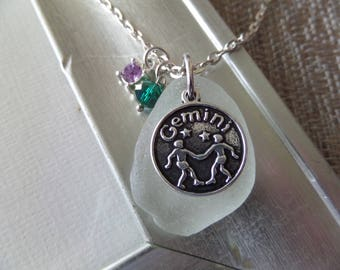 Gemini Zodiac Charm Necklace with White Scottish Sea Glass and May-June Birthstone, Astrological Sign Jewelry, Gift from Scotland
