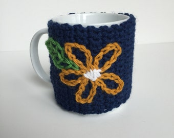 Embroidered Coffee Mug Cozy, Coffee Cup Cozies, Knit Cozy, Knit Cup Warmer, Knit Coffee Cozy, Coffee Sleeve, Stocking Stuffer