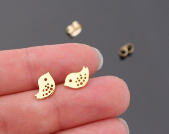 Jewelry Supplies, Gold Sterling Silver Post Small Birds earring post Findings, Tiny baby bird post earrings, 2 pc, I82705