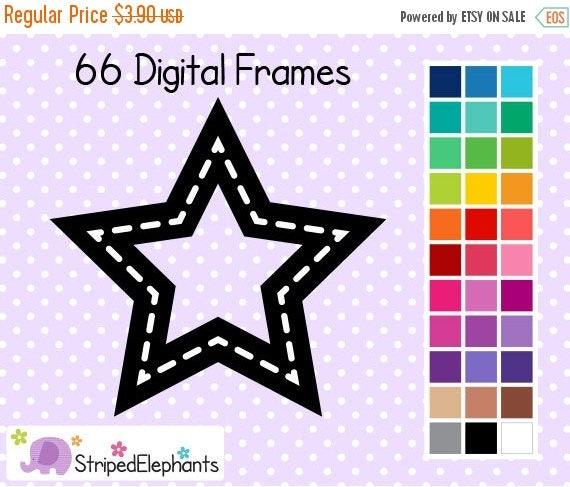 40% OFF SALE Stitched Star Digital Frames - Clip Art Frames - Instant Download - Commercial Use