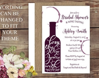 Wine Theme Bridal Shower, Wine , Vineyard Bridal Shower, Brown Kraft, Wine  Bottle