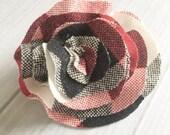 SALE Valentines Day Plaid Hair Bow - Red Black Cream Plaid Hair Clip - Buffalo Plaid Check Bow - Valentine Hair Accessory - Girls Ladies Hai