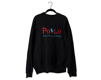 Vintage 90's POLO by Ralph Lauren Chain Stitched 100% Cotton Crewneck Black Long Sleeve Sweatshirt, Made in USA - XL