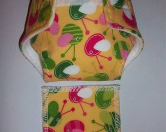 Baby Doll Diaper/wipe - mod birds on buttercup yellow  - adjustable for many dolls such as bitty baby