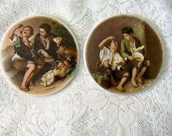 Two 2 A Pair Vintage Street Urchin Round  China Plaques Beggar Pauper Children Eating Fruit with Dog Decorative Tiles