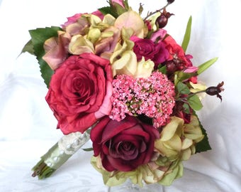 14 piece set Burgundy pink and beauty rose bouquet wedding set
