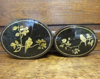 Vintage Chinese Black Gold Red Lacquer Box with Birds and Fruit Motive Jewellery Jewelry Trinket Box circa 1920-40's / English Shop