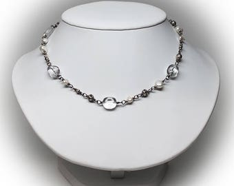 Sterling Silver Necklace beaded with Crystal, Fresh Water Pearls and Silver
