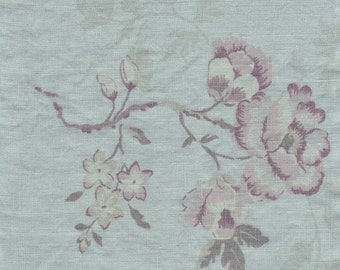 Vintage Luxury Linen Crib bedding in SeaGlass Color & Printed Flowers