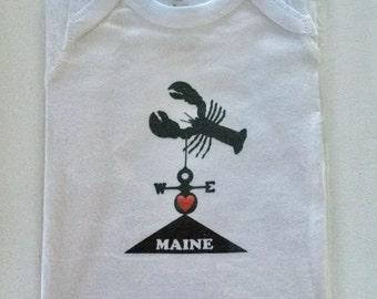 SALE Baby Onesie 12 Months, Original Maine Lobster  Logo, Hand Printed In Portland, Maine, Baby Gift, Shower, Unisex, Nautical, Beach